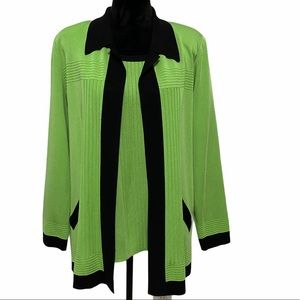 EXCLUSIVELY MISOOK Green Long Sleeve Cardigan Set
